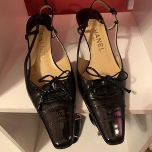 Chanel CC Leather Slingback Pumps